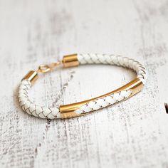 Leather bracelet bangle gold  white bracelet simple style women bracelet jewelry bridesmaids wedding rusteam