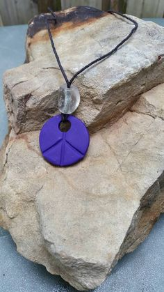 Peace Sign Essential Oil Diffusing Necklace -- Purple Pendant Aromatherapy -- More Color Choices by CrunchyCraft on Etsy