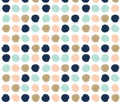 dots gold glitter blush mint  fabric by charlottewinter on Spoonflower - custom fabric