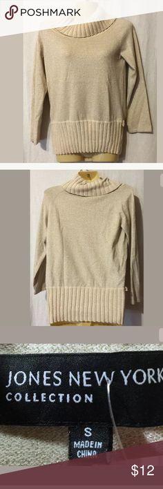 "Women Sweater Blouse S Rayon Ivory Jones New York Women  Sweater Blouse Small Rayon Ivory Solid  Casual Long Sleeve Jones New York Armpit to armpit 16"" Length 20"" Jones New York Tops Blouses"