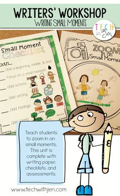 Teaching to zoom in on small moments. Kindergarten Writing, Teaching Writing, Writing Activities, Literacy, Teaching Ideas, Personal Narrative Writing, Personal Narratives, Small Moment Writing, Lucy Calkins Writing