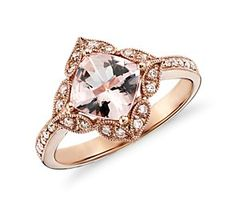 Vintage Morganite and Diamond Ring in 14k Rose Gold (0.19 ct. tw.) #bluenile