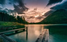 Download wallpapers mountain lake, sunset, forest, mountain landscape, beautiful sky