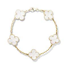 Van Cleef & Arpels Vintage Alhambra bracelet, 5 motifs, Yellow gold, Mother-of-Pearl (VCARA41800)