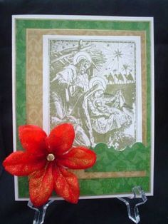 Nice use of Nativity stamp -- not wild about the flower but good placement of illustration.
