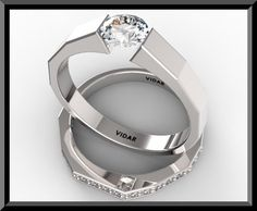 Contemporary tension set Wedding Rings for Women | Wedding Ring Set.Diamond Engagement Ring Set,Tension Wedding Ring Set ...