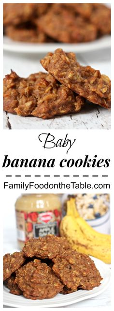 Baby banana cookies - just 5 wholesome ingredient in these soft, delicious cookies | FamilyFoodontheTable.com