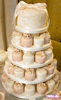 pink vintage look wedding cake | Cakes - Pale Ivory - Fruit/Sponge - Individuals - 5 - Champagne/Pink ...