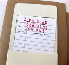 """Wonder who remembers these? #goflib """"I've been checking you out"""" Valentine Card. Link goes to Etsy shop."""