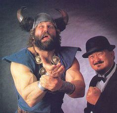 The Berzerker w/ Mr. Fuji, WWF 1992 - formerly the Viking, Nord the Barbarian, and Yukon John Nord - kind of stole Bruiser Brody's schtick...