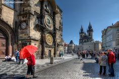 The #ClockTower and the Church of Our Lady before Týn - Prague