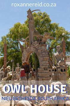 Visit the Owl House in Nieu Bethesda in the Karoo and see a world that outsider artist Helen Martins created of cement and glass. Sa Tourism, African Holidays, All About Africa, Wildlife Safari, Slow Travel, Owl House, Africa Travel, Countries Of The World, Cement