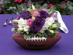 I worked with some incredible brides this past month at some spectacular venues. Jenni & Chris got married at Kiana Lodge in Poulsbo. Her bouquet was pink and white while her bridesmaids carrie… Football Wedding, Football Banquet, Sports Wedding, Football Themes, Football Themed Weddings, Football Centerpieces, Wedding Centerpieces, Wedding Decorations, Wedding Themes