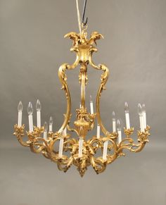 A Fantastic Quality Late Century Gilt Bronze Eighteen Light Chandelier Baccarat Chandelier, Chandelier Centerpiece, Baccarat Crystal, Antique Chandelier, Chandeliers, Chandelier Lighting, Luz Artificial, Lamp Light, Light Up