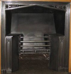 Antique Gothic Hob Grate with typical Gothic columns and detailing. Georgian Fireplaces, Wall Oven, Columns, Gothic, Kitchen Appliances, Antiques, Diy Kitchen Appliances, Antiquities, Goth