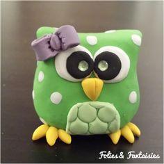 Polymer clay owls for keys Folies & Fantaisies