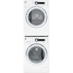 GE White Compact Laundry Pair with Washer, Electric Dryer and Stacking Kit in White Compact Laundry, Small Laundry, Stackable Washer And Dryer, Stacked Washer Dryer, Best Dryer, Front Load Washer, Laundry Room Organization, Laundry Rooms, Closet Storage
