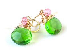 Wire-wrapping briolettes -   Neon Pink and Green Earrings. Starting at $10 on Tophatter.com!