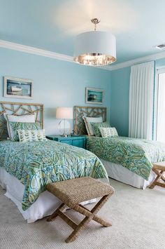 Beach house guest bedroom. Wall paint color is Benjamin Moore 2051-60 Bird's…