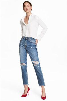 Straight Regular Jeans - Denimblauw/Girls bite - DAMES | H&M BE