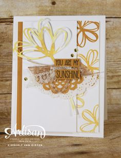 Get creative with layering Stampin' Up! products using the Sunshine Sayings stamp set. More photos on my blog. - StampinByTheSea.com