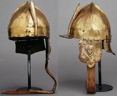 Ottoman tombak (gilded copper) chichak, a type of helmet (migfer) originally worn in the 15th-16th century by cavalry (sipahi) , consisting of a rounded bowl with ear flaps, a peak with a sliding nose guard passing through the peak, and an extension in the back to protect the neck. Various other countries used their own versions of the chichak, H. 37 cm, W. 21 cm, D. 35 cm, Kunsthistorisches Museum Vienna, Arms and Armour.