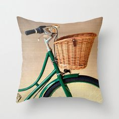 Pillow Cover Green Pillow Mint Pillow Bicycle Vintage Pillow Decoration 16 x 16 or 18 x 18. $37.00, via Etsy by Andrea Caroline or shop Andrekart