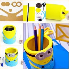 DIY EVA Minion Pencil Organizer from Can