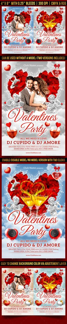 Buy Valentines Party Flyer Template by Gugulanul on GraphicRiver. 1 CMYK PSD file – 4 X 6 inch with inch bleeds Valentinstag Party, College Information, Graduation Balloons, College Parties, Flyer Layout, Club Parties, Graduation Pictures, Valentines Day Party, Party Flyer