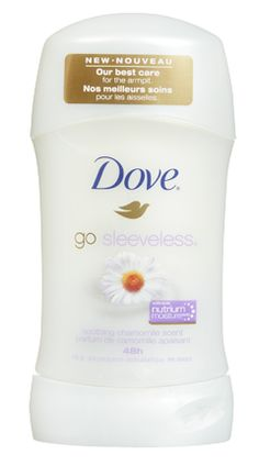 New Dove® Go Sleeveless® Soothing Chamomile Scent with Nutrium Moisture  With Dove unique Nutrium Moisture formula, Dove® Go Sleeveless® Soothing Chamomile Scent goes beyond 48-hour odour and wetness protection to give you softer, smoother underarm skin in just 3 days. Good-bye sleeves. Hello beautiful underarms!