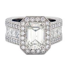 Diamonds, diamonds everywhere!! Amazing custom design for 4 carat emerald cut center, set in platinum