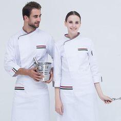 New Arrivals 2019 Unisex Chef Jacket Uniform - mkholding Chef Dress, Waitress Outfit, Hotel Uniform, Uniform Clothes, Restaurant Uniforms, Uniform Design, White Long Sleeve, Work Wear, Chef Jackets