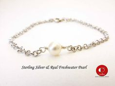 Single Pearl Bracelet 925 Sterling Silver Bridesmaid Gifts