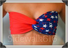 American Bandeau Swim Bandeau Top Spandex Bandeau Bikini via Etsy