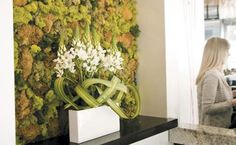 This sounds cool in execution, but not even remotely practical. Where would I put a moss wall? I don't care! It looks cool! Moss Art, Hotel Lobby, Looks Cool, Event Decor, Tulips, Floral Design, Diy Projects, Wall Decor, House Design