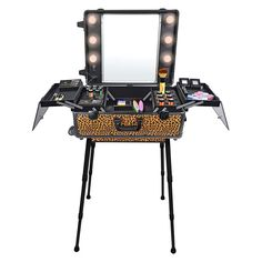 Studio To Go Makeup Case with Light - Pro Makeup Station - Cheetah on the loose - TRAIN CASES