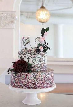 wedding cakes purple Wedding Cakes from Amy Beck Cake Design - MODwedding Pretty Wedding Cakes, Purple Wedding Cakes, Beautiful Wedding Cakes, Wedding Cake Designs, Beautiful Cakes, Amazing Cakes, Simply Beautiful, Wedding Cake Inspiration, Wedding Ideas