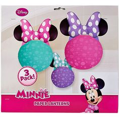 Minnie Mouse Bow-Tique Paper Lantern Decoration, 3 Count, Party Supplies