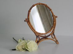 L O V E L Y French Vintage Round bamboo standing dresser face mirror   french…