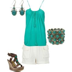 Summer outfit...though I would use unembellished shoes and coral jewelry
