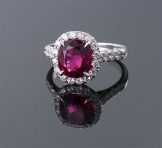 3.52ct Cushion Cut Red Spinel and Diamond Ring ~ M.S. Rau Antiques $33,000