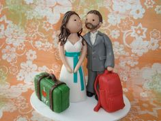 Customized Bride and Groom Travel Theme Wedding Cake by mudcards, $135.00