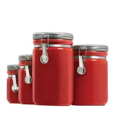 Red Clamp-Top Canister Set