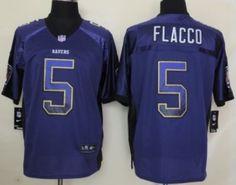 Nike Baltimore Ravens #5 Joe Flacco 2013 Drift Fashion Purple Elite Jersey