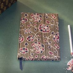 Green Printed Fabric Cover Notebook - 8.5 x 5.5 Inch