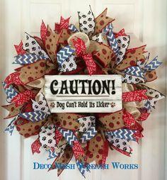 Dog Wreath, Puppy Wreath, Pet Wreath, Animal Wreath, Paw Print Wreath, Burlap Dog Wreath, Mesh Wreath, Paper Mesh Wreath, Deco Mesh Wreath by DecoMeshWreathWorks on Etsy