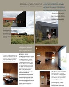 Dwell Magazine back page saple Black Building, Sketchbook Layout, Norfolk County, Countryside, England, Graphic Design, Graphics, Magazine, Image