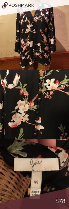 Joie silk blouse Joie medium button up blouse. Black with white and pink flowers. 100% silk, hardly worn. Gorgeous and classic! Joie Tops Blouses