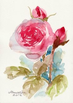 FLOWER ART PAINTINGSmall Original Watercolor on by sabaiover, $20.00