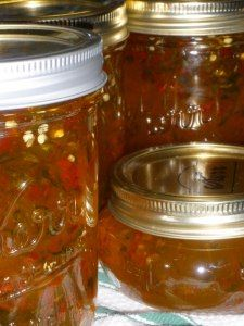 Homemade hot pepper jelly- Really delicious with cream cheese and saltine crackers!